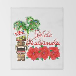 Santa Tiki Mele Kalikimaka Throw Blanket