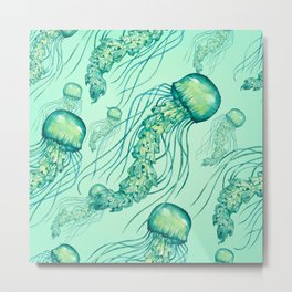 Watercolor jellyfish pattern Metal Print