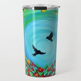 Rainbow Flowers Travel Mug