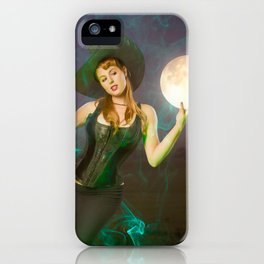 """""""Moonlighting"""" - The Playful Pinup - Halloween Witch Pin-up Girl by Maxwell H. Johnson iPhone Case"""