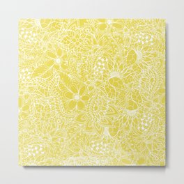 Modern trendy white floral lace hand drawn pattern on meadowlark yellow Metal Print