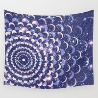 moon phases Wall Tapestries featuring Moon Phases by Cina Catteau
