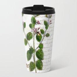 Cottage Style Thyme, Bumble Bee, Hummingbird, Herbal Botanical Illustration Travel Mug