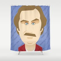 will ferrell Shower Curtains featuring Will Ferrell as Ron Burgundy by Leo Maia
