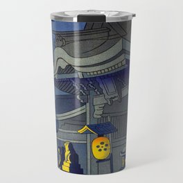 Japanese Woodblock Print Vintage Asian Art Colorful Woodblock Prints Shrine At Night Lantern Travel Mug