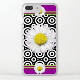 Modern Style Shasta Daisies Purple Clear iPhone Case