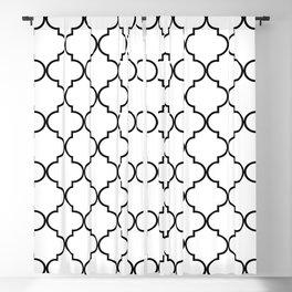 Quatrefoil - White and Black Blackout Curtain