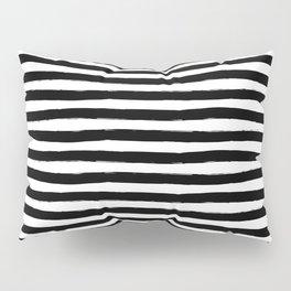 Black And White Hand Drawn Horizontal Stripes Pillow Sham