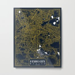 Mexico City Map  - Gold Art Deco Metal Print