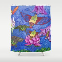 Hummingbird Moth and Frog Shower Curtain