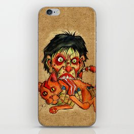 zombie eating bacon cat iPhone Skin
