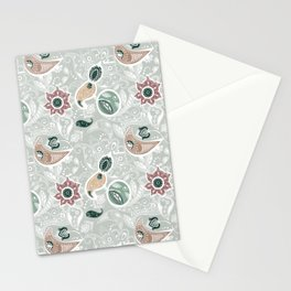 Paisely Flower Pattern Green Gray Stationery Cards