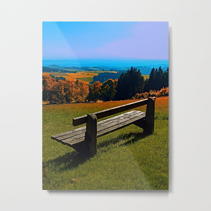 Summertime scenery and the bench to watch it Metal Print