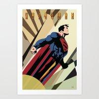 Art Deco Superman 3 Art Print