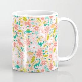 Dinosaurs + Unicorns in Pink + Teal Coffee Mug