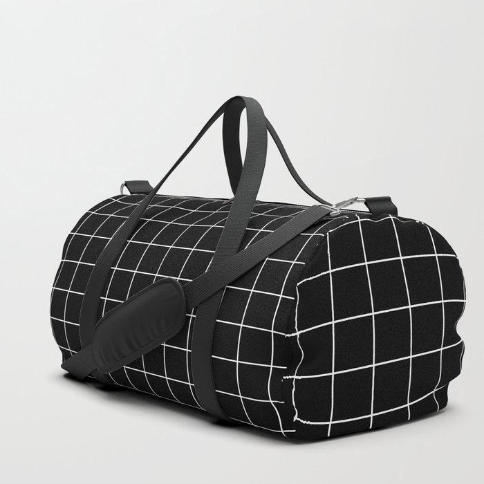 Grid Simple Line Black Minimalist Duffle Bag