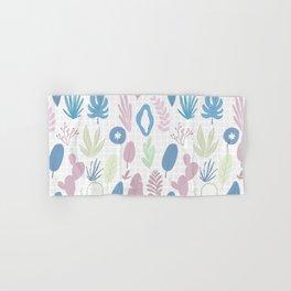 Geometrical blue pink mint green floral pattern Hand & Bath Towel