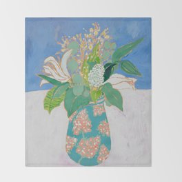 Lily and Eucalyptus Bouquet in Blue and Peach Floral Vase Throw Blanket