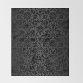 Black Damask Pattern Design Throw Blanket