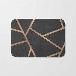 Dark Grey and Gold Textured Fragments - Geometric Design Bath Mat