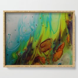 Neon Burn - Abstract Acrylic Art by Fluid Nature Serving Tray