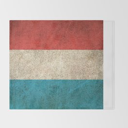 Old and Worn Distressed Vintage Flag of Luxembourg Throw Blanket