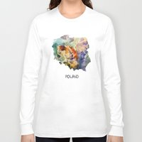 poland Long Sleeve T-shirts featuring Map of Poland watercolor by jbjart