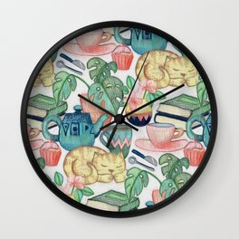 Lazy Afternoon - a chalk pastel illustration pattern Wall Clock