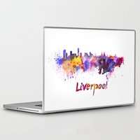 liverpool Laptop & iPad Skins featuring Liverpool skyline in watercolor by Paulrommer