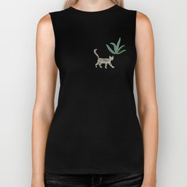Cats and tropical plants in the jungle Biker Tank