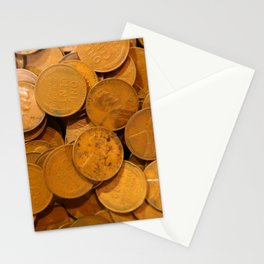 Watercolor Coins, Lincoln Wheat Pennies, 1940 01 Stationery Cards