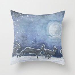 Siberian roe deer in the moonlight Throw Pillow