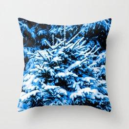 Blue Christmas Tree, Snow Throw Pillow