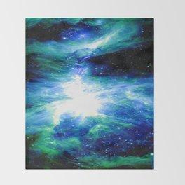 Orion Nebula Blue & Green Throw Blanket