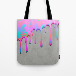 Pink Dripping Paint on Grey Tote Bag