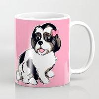 shih tzu Mugs featuring Shih Tzu Puppy  by Artist Abigail