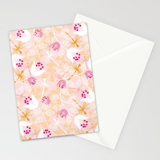 Flowers and dragonfly on blush Stationery Cards
