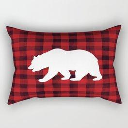 Red Plaid Bear Rectangular Pillow