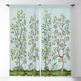 Chinoiserie Citrus Grove Mural Multicolor Blackout Curtain