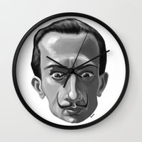 salvador dali Wall Clocks featuring Salvador Dali by Kostas Roussos
