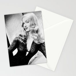 Mischievous Veronica Lake, Hollywood Starlet, black and white photograph / black and white photography Stationery Cards