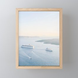 490. Dream Sunset Cruise, Santorini, Greece Framed Mini Art Print