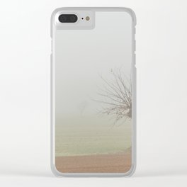 Fallow field in the Po valley with a thick fog Clear iPhone Case