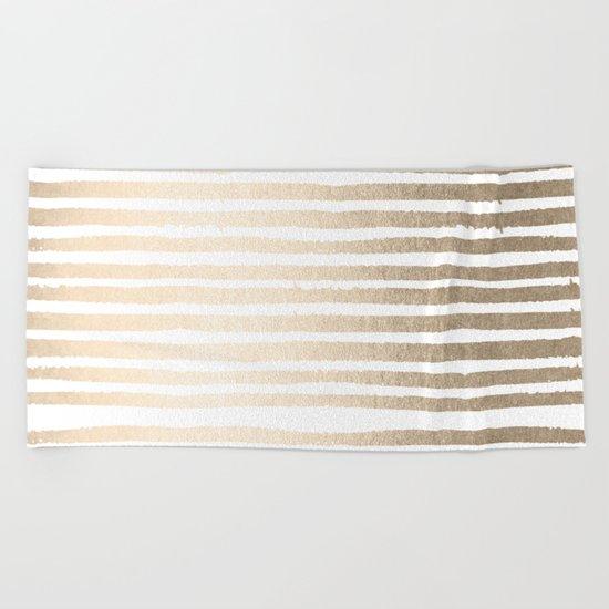 White Gold Sands Shibori Stripes Beach Towel
