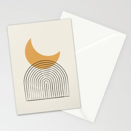 Moon mountain gold - Mid century style Stationery Cards