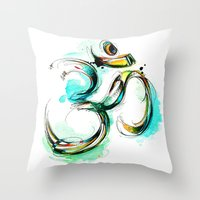ohm Throw Pillows featuring Ohm by Abby Diamond