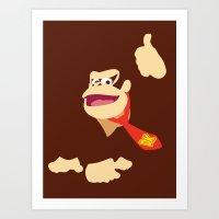 donkey kong Art Prints featuring Donkey Kong - Minimalist - Nintendo by Adrian Mentus