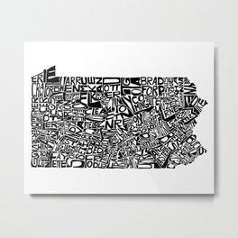 Typographic Pennsylvania Metal Print