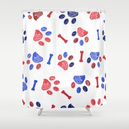 Doodle blue and red paw prints and bones seamless pattern Shower Curtain
