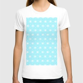 Ice Blue Geometric Flowers and Florals Isosceles Triangle T-shirt